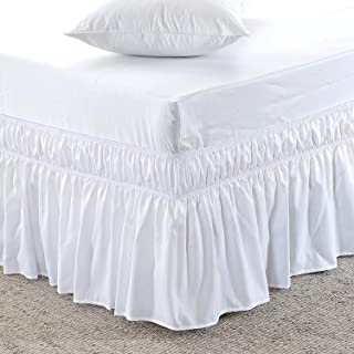 """AAJIVA DECORE Lowest Price Wrap Around Bed Skirt -Polyester/Microfiber Elastic Dust Ruffle Three Fabric Sides Silky Soft 1PC Bed Skirt 18"""" Drop Length/Fall Length {King, White Solid}"""