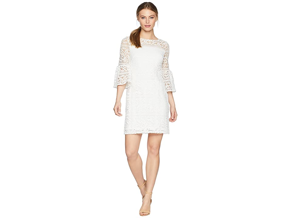 LAUREN Ralph Lauren Petite 138A Filigree Striped Obelix 3/4 Sleeve Day Dress (White) Women