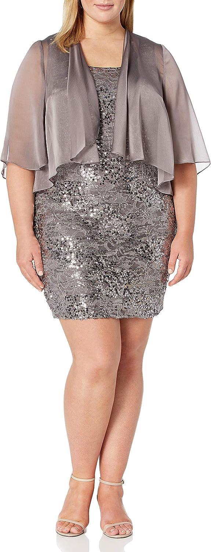 Alex Evenings Women's Plus Size Midi Length Jacket Dress
