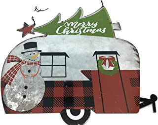 Vintage Style Galvanized Metal Camper with Snowman and Christmas Tree w/Wire Hanger