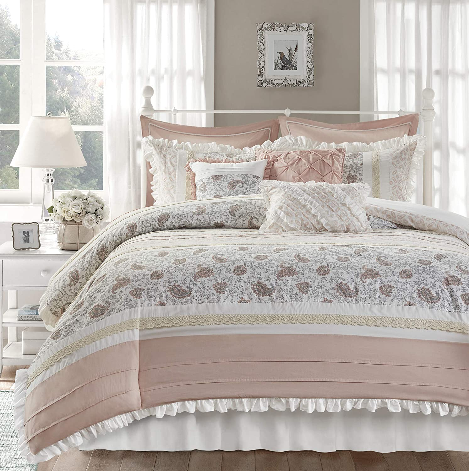 "Madison Park 100% Cotton Comforter Set-Modern Cottage Design All Season Down Alternative Bedding, Matching Shams, Bedskirt, Decorative Pillows, Cal King(104""x92""), Dawn Shabby Chic, Blush 9 Piece"
