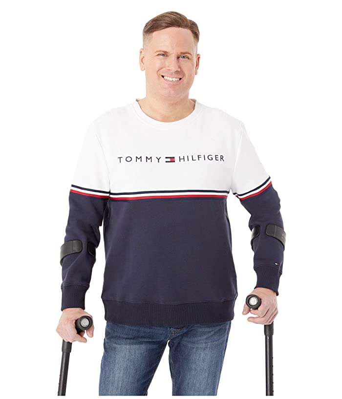 Tommy Hilfiger Adaptive  Logo Crewneck (Bright White/Sky Captain) Mens Clothing