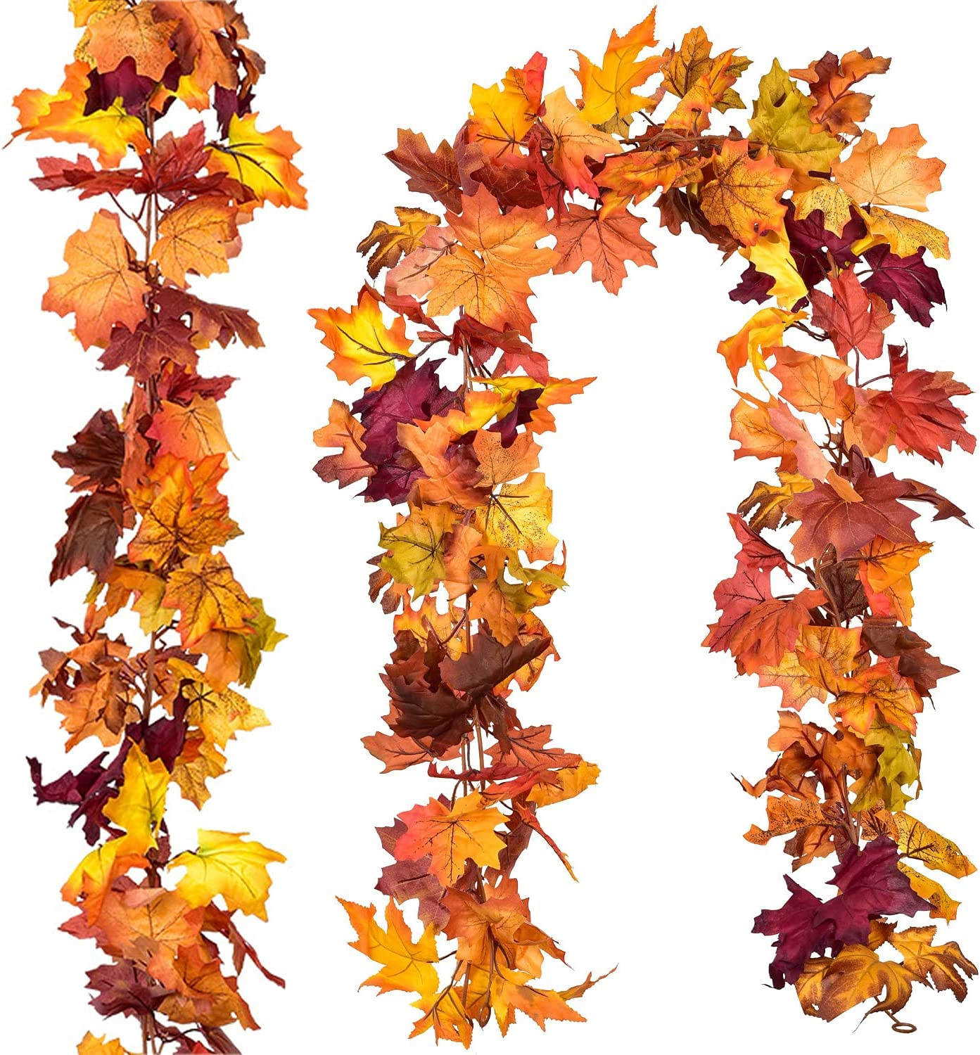 DearHouse 2 Pcs Fall Garland Maple Leaf, 5.9Ft/Piece Hanging Vine Garland Artificial Autumn Foliage Garland Thanksgiving Decor for Home Wedding Fireplace Party Christmas