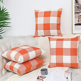 Pack of 4 Fall Decor Farmhouse Buffalo Checkers Plaids Pillow Covers Orange and White Cotton Linen Halloween Decorations Throw Pillow Covers for Couch Sofa 18x18 Inch