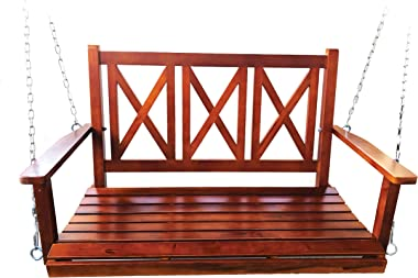 BACKYARD EXPRESSIONS PATIO · HOME · GARDEN 914894 4ft. Rustic Finished Fir Wood (2) Person Porch Swing | Capacity 450lbs, Mah