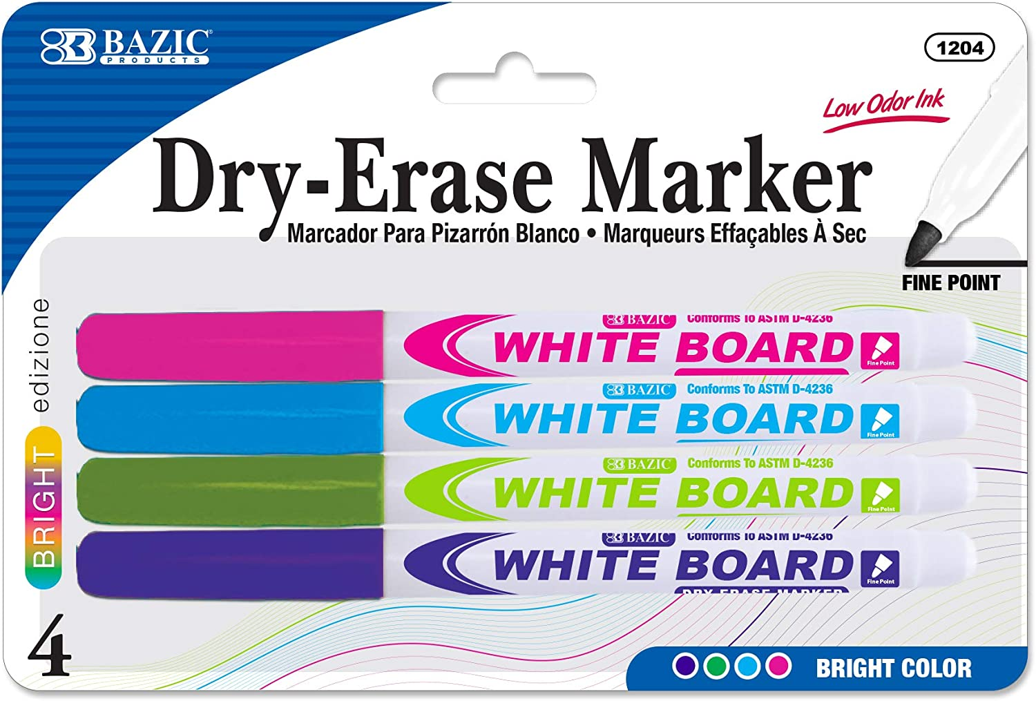BAZIC Shipping included Dry Erase Marker Bright Choice Color Tip Fine Whiteboard Pen Mar