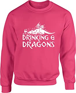 Hippowarehouse Drinking and Dragons Unisex Jumper Sweatshirt Pullover (Specific Size Guide in Description)