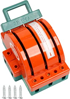 YaeTek 100Amp Disconnect Knife Switch 3 Pole Double Throw Breaker Backup Circuit Generator 3P 100A Orange