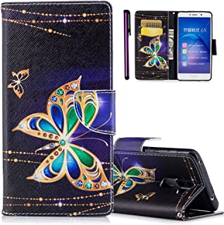 ISADENSER Honor 6X Case Huawei Honor 6X Phone Case Slim Flip Cover Case Full Protective Soft Leather PU Shock Absorption with Stand Function and Card Slot Case for Huawei Honor 6X Ink Butterfly BF