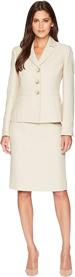 Tweed Three-Button Skirt Suit