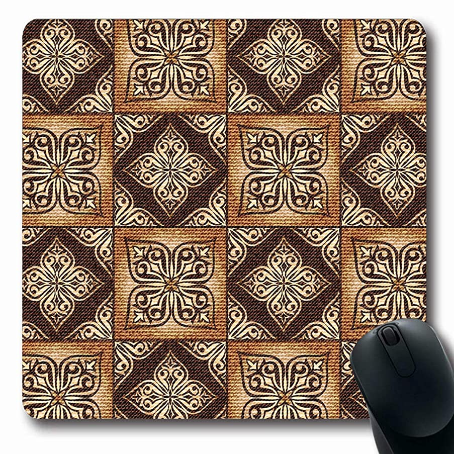 Ahawoso Mousepads for Computers Arabic Asian Gorgeous Patchwork Pattern Gold Tiles Abstract Canvas Carpet Ceramic Convex Design Oblong Shape 7.9 x 9.5 Inches Non-Slip Oblong Gaming Mouse Pad