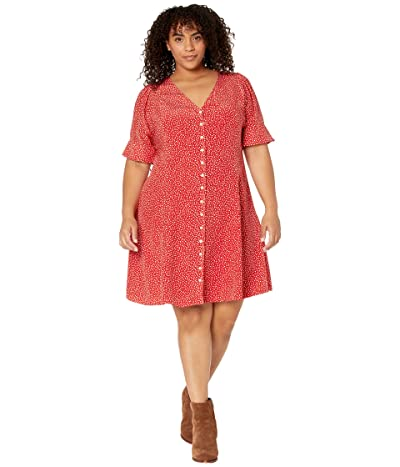 Madewell Plus Silk Button-Front Mini Dress in Park Picnic