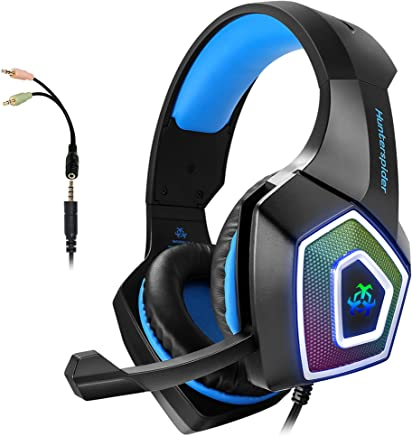 $23 Get Gaming Headset with Mic for Xbox One PS4 PC Switch Tablet Smartphone, Headphones Stereo Over Ear Bass 3.5mm Microphone Noise Canceling 7 LED Light Soft Memory Earmuffs(Free Adapter)