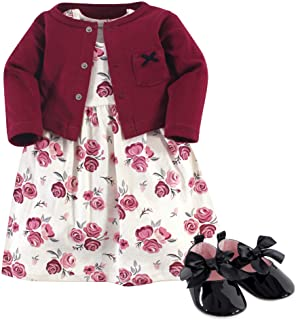 Hudson Baby Baby-Girls 3 Piece Dress, Cardigan, Shoe Set Long Sleeve Casual Dress