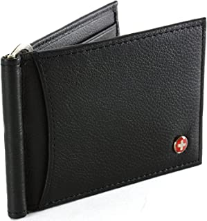 RFID Blocking Mens Leather Spring Loaded Money Clip Wallet