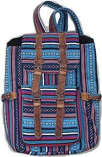 Mochila para la escuela, viajes, ocio - hecha de algodón con adornos de cuero de búfalo - con cordón, hecha a mano en Nepal, Modelo G, hermosa mezcla de tonos de azul