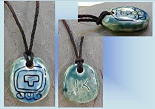 Turquoise Teal Mayan IK' Wind Ceramic Necklace Mesoamerican Tzolk'in Day Sign Amulet Clay Pottery Pendant Aztec Calender