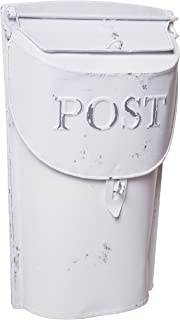 Rustic Style White Post Mailbox Wall Mounted Design - 11 h x 7 w Inches - Small