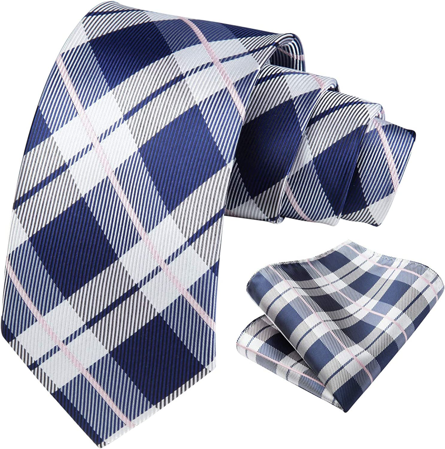 Hisdern Plaid Checkered Ties for Men Pocket Square Set Classic Silk Woven Mens Neckties Handkerchief for Wedding Party