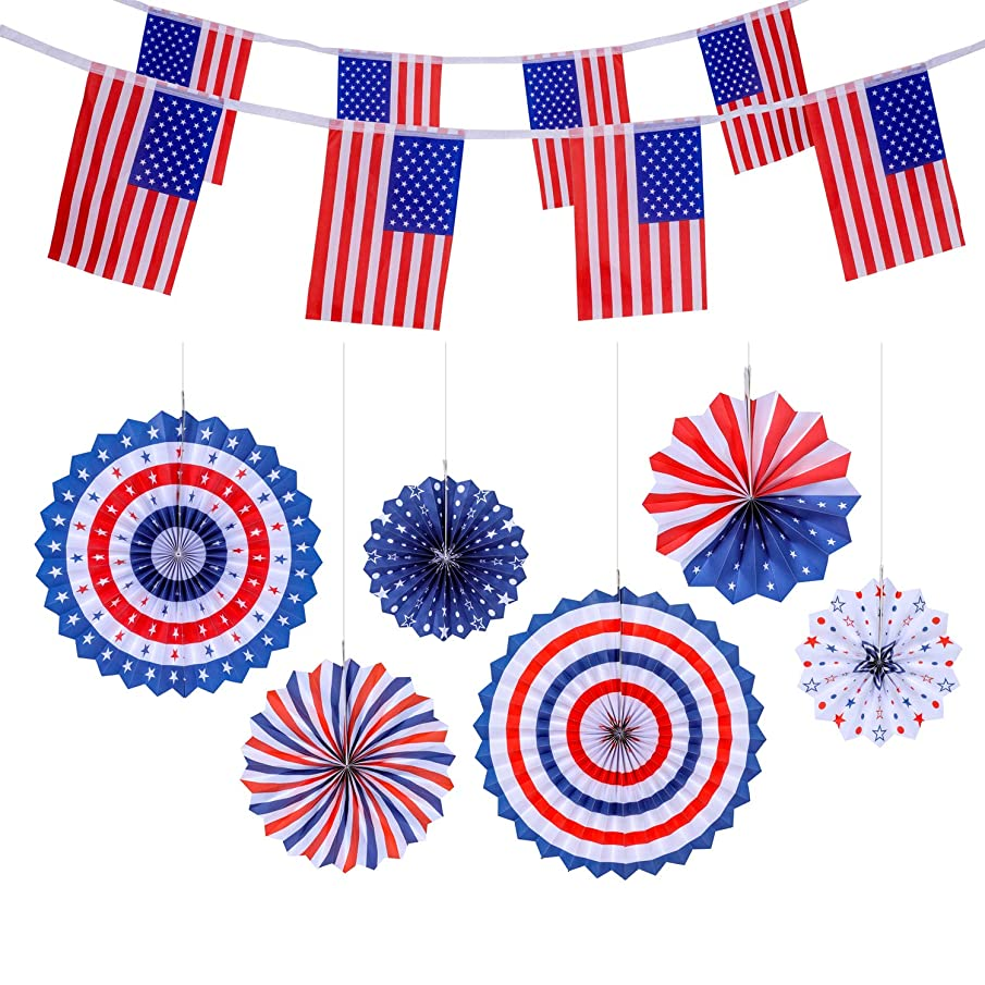 VOICE PLAYER 4th/Fourth of July Patriotic Decorations - Red White Blue 6 Hanging Paper Fans and 40 American Flags Banner, USA String Pennant Banners Party Decor Supplies
