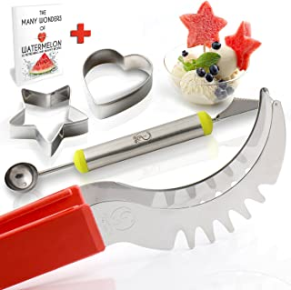 Watermelon Slicer Corer Knife & Server Tongs By Smart Ideas – Premium Stainless Steel Cutter & No Slip Red Silicone Handle + Melon Baller + Cookie Cutters + FREE E-BOOK W/ fun healthy snacks recipes