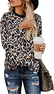 ALBIZIA Leopard Printed T Shirt for Women Basic Casual Long Sleeve Cute Blouse Top