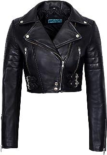 Ladies Short Body Leather Jacket Black Slim Fit Short...