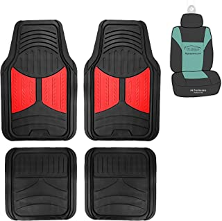 FH Group F11313 Monster Eye Full Set Rubber Floor Mats Red Black Color Fit Most Car Truck Suv Or Van Universal Red/Black