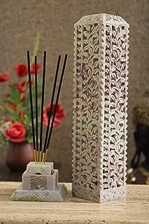 Carry Me Handmade Marble Soapstone Incense Stick Burner   Candle Stick Holder   Tea Light Burner - Perfect Floral Carving ...