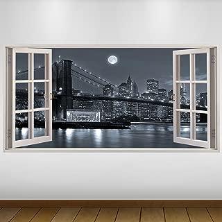LagunaProject Extra Grande Las Luces de la Ciudad de Silver Bridge Luna Nueva York Vinilo 3D Póster - Mural Decoración - Etiqueta de la Pared -140cm x 70cm