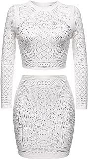 Women Rhinestone Two Pieces Bodycon Dress Outfit Crop Top Midi Skirt Set