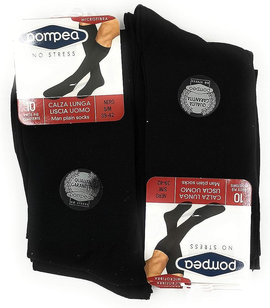 Pompea, calze lunghe liscie per uomo in microfibra no stress, 6 paia,100% poliammide