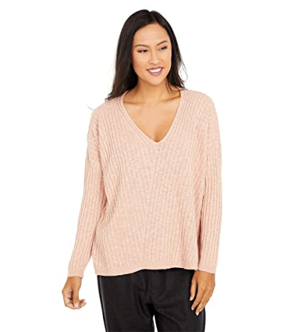 Eileen Fisher Organic Cotton Linen Slub Deep V-Neck Tunic (Blush) Women