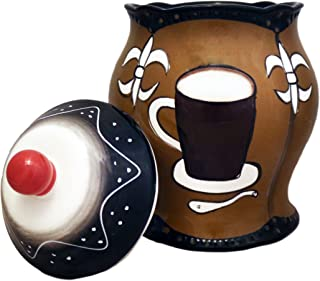Tuscany Hand Painted Fleur De Lis Coffee Design, Cookie Jar, 85176 by ACK