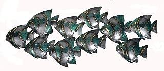 Beautiful Unique Aqua Teal Nautical School of Fish Contemporary Metal Wall Art