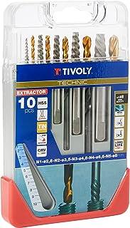 Tivoly 11901170052 Coffret Clipster Forets avec Extracteur pour extraire les goujons/vis cassées, Gris, Set de 10 Pièces