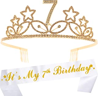 7th Birthday Gifts for Girl, 7th Birthday Tiara and Sash Gold, HAPPY 7th Birthday Party Supplies, It's My 7th Birthday Sas...