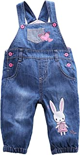 BABYPEP Baby and Little Boys/Girls Jeans Jumpsuit Embroidered Cartoon Soft Denim Overalls Strap