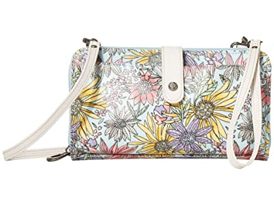 Sakroots Artist Circle Large Smartphone Crossbody (Pastel Flower Garden) Clutch Handbags