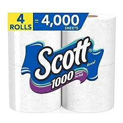 Scott 1000 Sheets Per Roll, 4 Toilet Paper Rolls, Bath Tissue