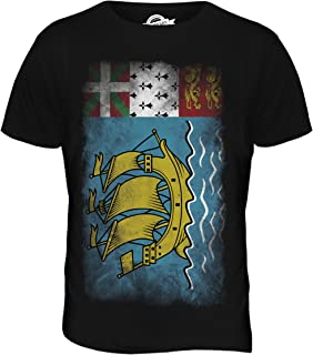 CandyMix Men's Saint Pierre And Miquelon Faded Flag T Shirt T-Shirt Top