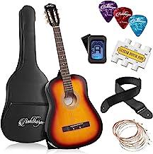 Ashthorpe 38-inch Beginner Acoustic Guitar Package (Sunburst), Kids Basic Starter Kit w/Gig Bag, Strings, Strap, Tuner, Pi...