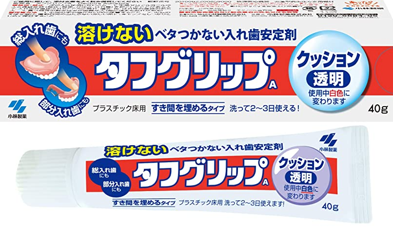 バンク健全メンバータフグリップクッション 透明 入れ歯安定剤(総入れ歯?部分入れ歯) 40g