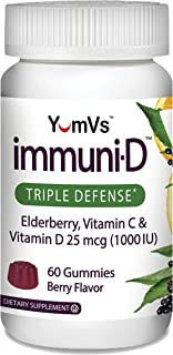 Immuni-D Elderberry Gummies by YumVs | Triple Defense Vitamins with Sambucus Elderberry, Vitamin C & Vitamin D | Complete ...