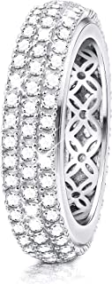 Sllaiss Sets with Swarovski Zirconia 3 Row Pave Sterling Silver Ring for Women Round-Cut Cubic Zirconia Band Ring for Wedd...