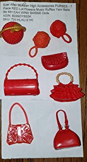 Ever After Monster High Accessories PURSES - 7 Piece RED Lot Flowers Music Ruffles Yarn Balls fits MH EAH WINX BARBIE Dolls