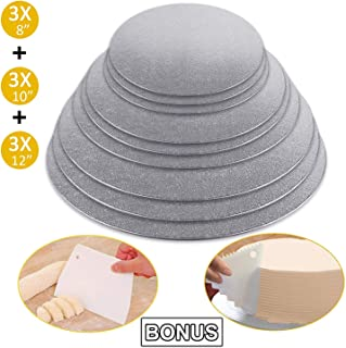 Cake Boards Sliver Foil Round Cake Circles 8, 10, 12 Inch Cake Base Cardboard, 3 of Each Size Set, with 2pcs Plastic Scrapers for Baking Cake (9 Pack)