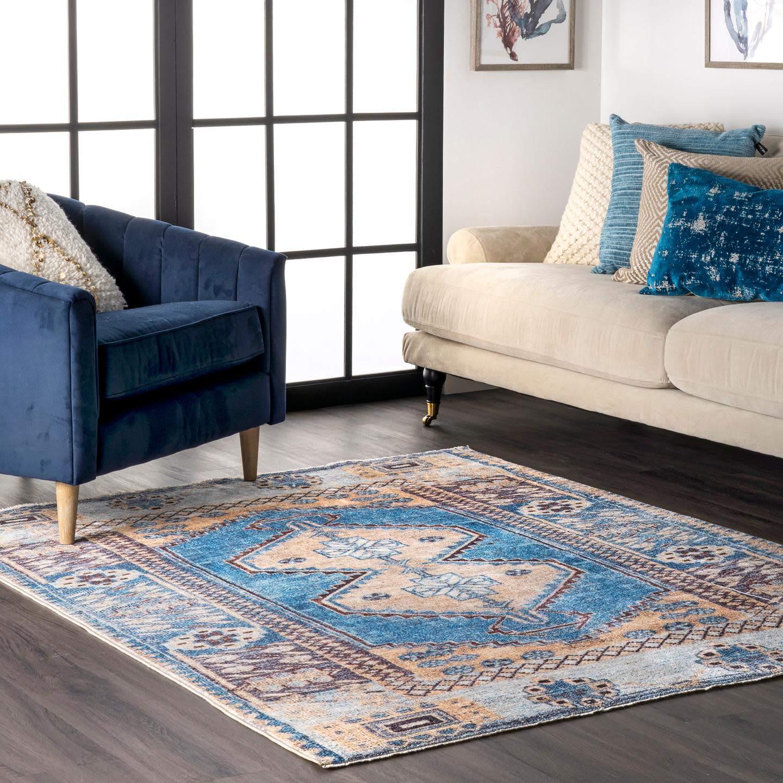 Nuloom Kai Gemini Medallion Area Rug 5 X 6 Blue Furniture Decor