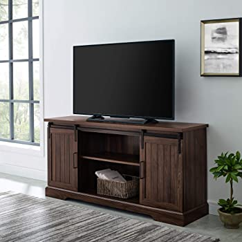 "Walker Edison Furniture Company Modern Farmhouse Sliding Grooved Wood Stand for TV's up to 65"" Cabinet Door Living Room Storage Entertainment Center, 58 Inch, Dark Walnut"