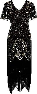 Vintage Women's Flapper Dresses 1920s Sequin Beaded Fringed Great Gatsby Dress